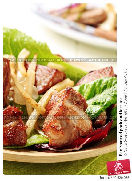 Pan roasted pork and lettuce. Стоковое фото, фотограф Alena Dvorakova / PantherMedia / Фотобанк Лори