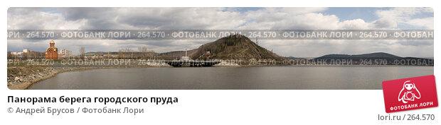 Панорама берега городского пруда, фото № 264570, снято 26 апреля 2008 г. (c) Андрей Брусов / Фотобанк Лори
