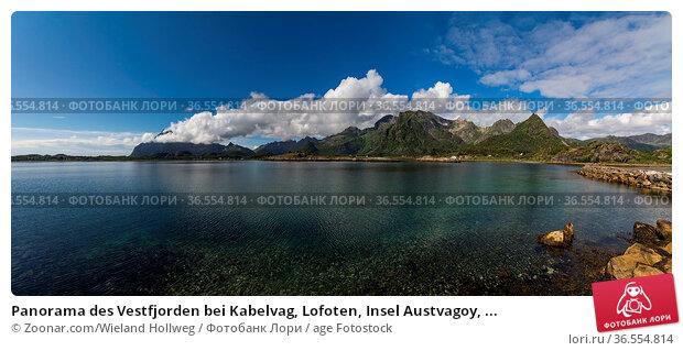 Panorama des Vestfjorden bei Kabelvag, Lofoten, Insel Austvagoy, ... Стоковое фото, фотограф Zoonar.com/Wieland Hollweg / age Fotostock / Фотобанк Лори