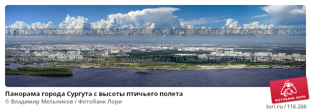 Панорама города Сургута с высоты птичьего полета, фото № 116266, снято 21 октября 2016 г. (c) Владимир Мельников / Фотобанк Лори