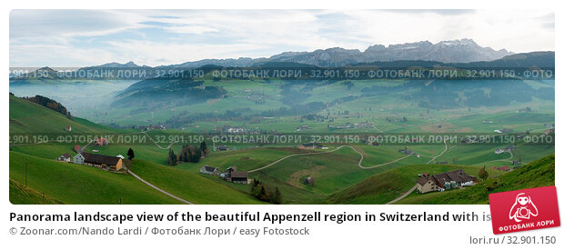 Panorama landscape view of the beautiful Appenzell region in Switzerland with ist rolling hills and farms and the Alpstein mountains behind in late autumn. Стоковое фото, фотограф Zoonar.com/Nando Lardi / easy Fotostock / Фотобанк Лори