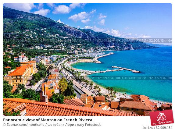 Panoramic view of Menton on French Riviera. Стоковое фото, фотограф Zoonar.com/monticello / easy Fotostock / Фотобанк Лори