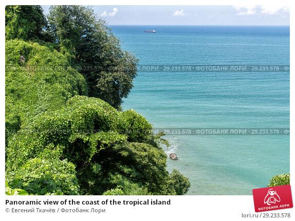 Купить «Panoramic view of the coast of the tropical island», фото № 29233578, снято 12 июля 2013 г. (c) Евгений Ткачёв / Фотобанк Лори