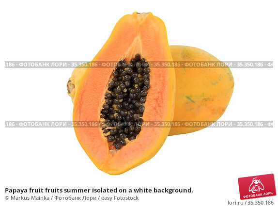 Papaya fruit fruits summer isolated on a white background. Стоковое фото, фотограф Markus Mainka / easy Fotostock / Фотобанк Лори