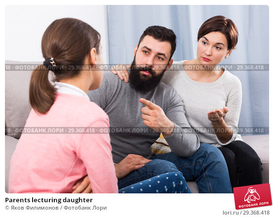 Купить «Parents lecturing daughter», фото № 29368418, снято 16 февраля 2019 г. (c) Яков Филимонов / Фотобанк Лори