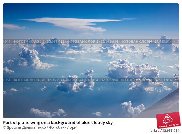 Part of plane wing on a background of blue cloudy sky. Стоковое фото, фотограф Ярослав Данильченко / Фотобанк Лори