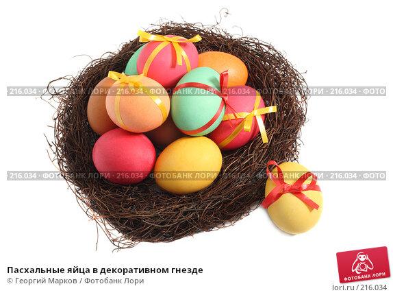 Пасхальные яйца в декоративном гнезде, фото № 216034, снято 2 марта 2008 г. (c) Георгий Марков / Фотобанк Лори
