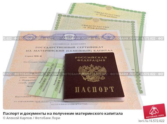 Купить «Паспорт и документы на получение материнского капитала», фото № 6572022, снято 6 октября 2014 г. (c) Алексей Карпов / Фотобанк Лори