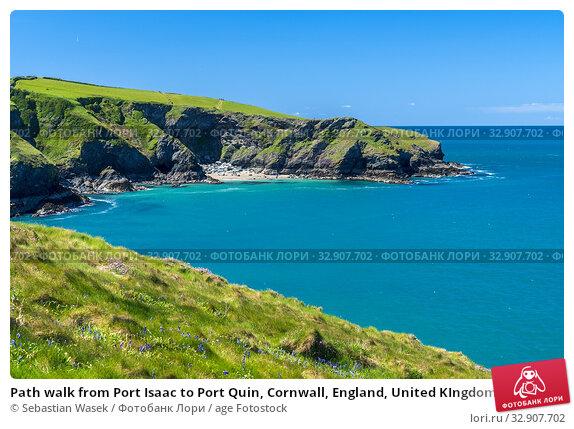 Path walk from Port Isaac to Port Quin, Cornwall, England, United KIngdom, Europe. Стоковое фото, фотограф Sebastian Wasek / age Fotostock / Фотобанк Лори