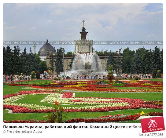 Павильон Украина, работающий фонтан Каменный цветок и большая красивая цветочная клумба, ВВЦ, Москва, фото № 277086, снято 17 июля 2005 г. (c) Fro / Фотобанк Лори