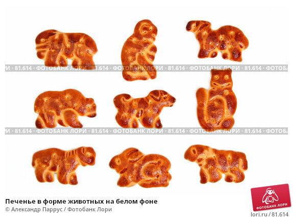Купить «Печенье в форме животных на белом фоне», фото № 81614, снято 2 января 2007 г. (c) Александр Паррус / Фотобанк Лори