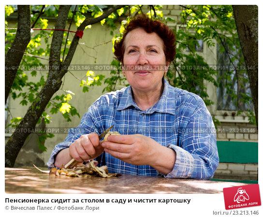 Купить «Пенсионерка сидит за столом в саду и чистит картошку», эксклюзивное фото № 23213146, снято 4 мая 2016 г. (c) Вячеслав Палес / Фотобанк Лори