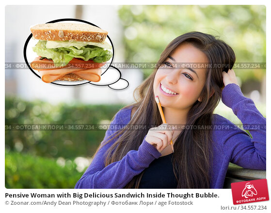 Pensive Woman with Big Delicious Sandwich Inside Thought Bubble. Стоковое фото, фотограф Zoonar.com/Andy Dean Photography / age Fotostock / Фотобанк Лори
