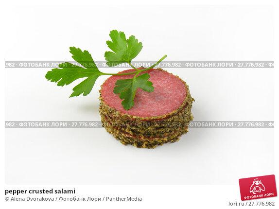 Купить «pepper crusted salami», фото № 27776982, снято 18 февраля 2019 г. (c) PantherMedia / Фотобанк Лори