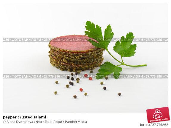 Купить «pepper crusted salami», фото № 27776986, снято 25 марта 2019 г. (c) PantherMedia / Фотобанк Лори