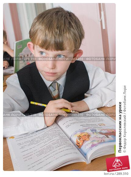 Первоклассник на уроке, фото № 289310, снято 25 апреля 2008 г. (c) Федор Королевский / Фотобанк Лори
