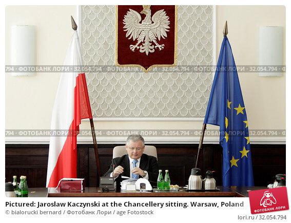 Pictured: Jaroslaw Kaczynski at the Chancellery sitting. Warsaw, Poland. Редакционное фото, фотограф bialorucki bernard / age Fotostock / Фотобанк Лори