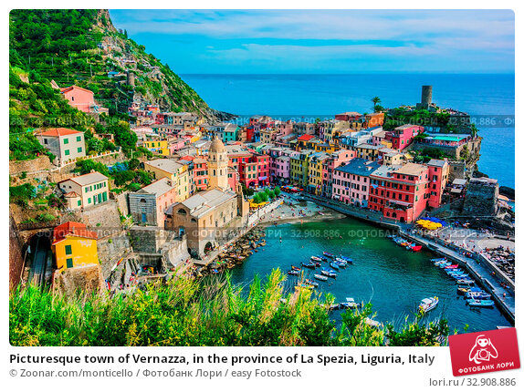 Picturesque town of Vernazza, in the province of La Spezia, Liguria, Italy. Стоковое фото, фотограф Zoonar.com/monticello / easy Fotostock / Фотобанк Лори