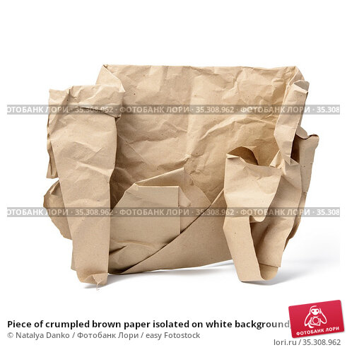 Piece of crumpled brown paper isolated on white background, element... Стоковое фото, фотограф Natalya Danko / easy Fotostock / Фотобанк Лори