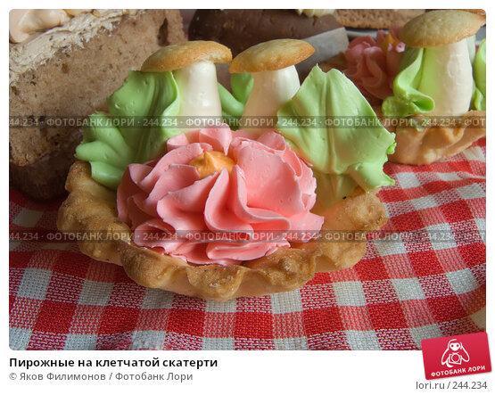 Пирожные на клетчатой скатерти, фото № 244234, снято 5 апреля 2008 г. (c) Яков Филимонов / Фотобанк Лори