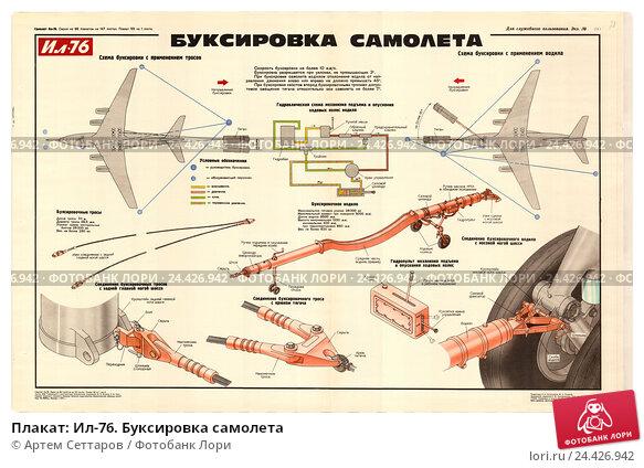 Плакат: Ил-76. Буксировка самолета. Редакционная иллюстрация, иллюстратор Артем Сеттаров / Фотобанк Лори