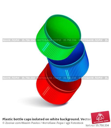 Plastic bottle caps isolated on white background. Vector illustration. Стоковое фото, фотограф Zoonar.com/Maxim Pavlov / age Fotostock / Фотобанк Лори