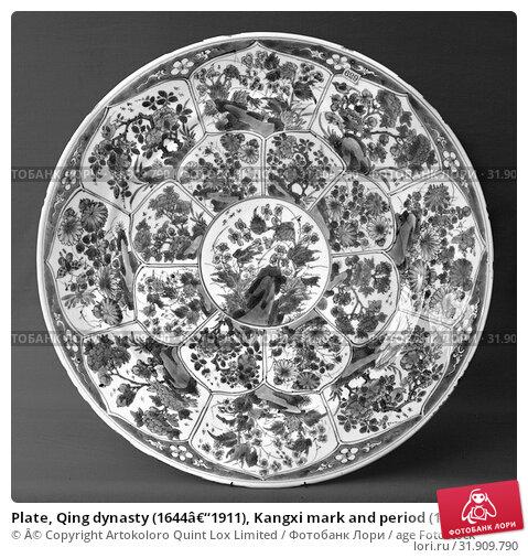 Купить «Plate, Qing dynasty (1644–1911), Kangxi mark and period (1662–1722), late 17th–early 18th century, China, Porcelain painted in underglaze blue, Diam. 14 1/2 in. (36.8 cm), Ceramics», фото № 31909790, снято 8 мая 2017 г. (c) age Fotostock / Фотобанк Лори