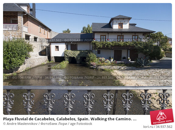 Playa Fluvial de Cacabelos, Calabelos, Spain. Walking the Camino. ... Стоковое фото, фотограф Andre Maslennikov / age Fotostock / Фотобанк Лори