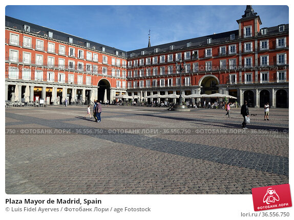 Plaza Mayor de Madrid, Spain. Стоковое фото, фотограф Luis Fidel Ayerves / age Fotostock / Фотобанк Лори