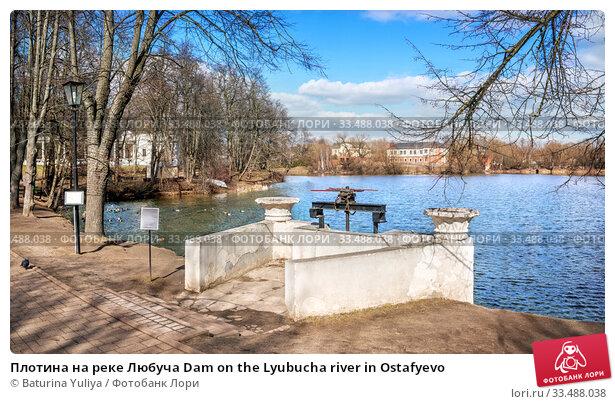 Купить «Плотина на реке Любуча Dam on the Lyubucha river in Ostafyevo», фото № 33488038, снято 21 марта 2020 г. (c) Baturina Yuliya / Фотобанк Лори