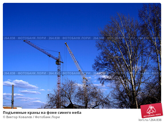 Купить «Подъемные краны на фоне синего неба», фото № 264838, снято 26 апреля 2008 г. (c) Виктор Ковалев / Фотобанк Лори