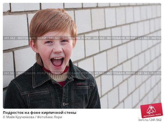 Купить «Подросток на фоне кирпичной стены», фото № 241562, снято 27 марта 2008 г. (c) Майя Крученкова / Фотобанк Лори