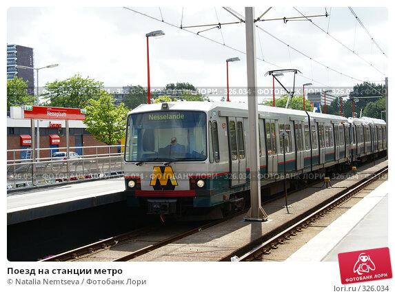 Купить «Поезд на станции метро», эксклюзивное фото № 326034, снято 11 июня 2008 г. (c) Natalia Nemtseva / Фотобанк Лори