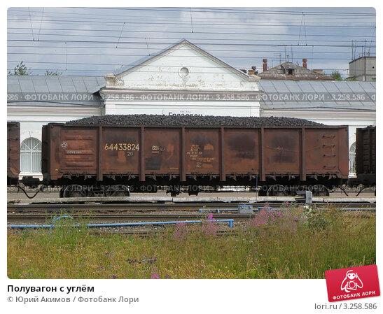 Купить «Полувагон с углём», фото № 3258586, снято 26 июля 2008 г. (c) Юрий Акимов / Фотобанк Лори
