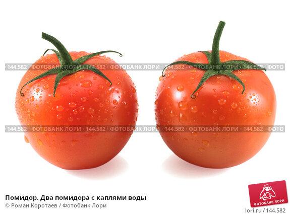 Помидор. Два помидора с каплями воды, фото № 144582, снято 2 декабря 2007 г. (c) Роман Коротаев / Фотобанк Лори