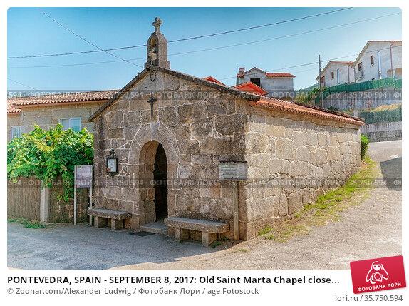 PONTEVEDRA, SPAIN - SEPTEMBER 8, 2017: Old Saint Marta Chapel close... Стоковое фото, фотограф Zoonar.com/Alexander Ludwig / age Fotostock / Фотобанк Лори