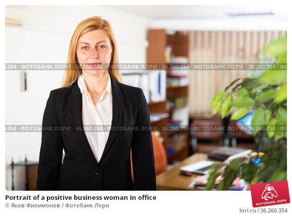 Portrait of a positive business woman in office. Стоковое фото, фотограф Яков Филимонов / Фотобанк Лори