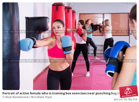 Portrait of active female who is training box exercises near punching bag in gym. Стоковое фото, фотограф Яков Филимонов / Фотобанк Лори