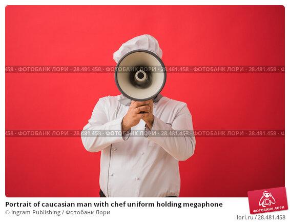 Купить «Portrait of caucasian man with chef uniform holding megaphone», фото № 28481458, снято 23 октября 2014 г. (c) Ingram Publishing / Фотобанк Лори