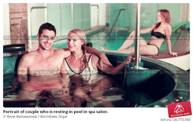 Купить «Portrait of couple who is resting in pool in spa salon.», фото № 26773550, снято 18 июля 2017 г. (c) Яков Филимонов / Фотобанк Лори