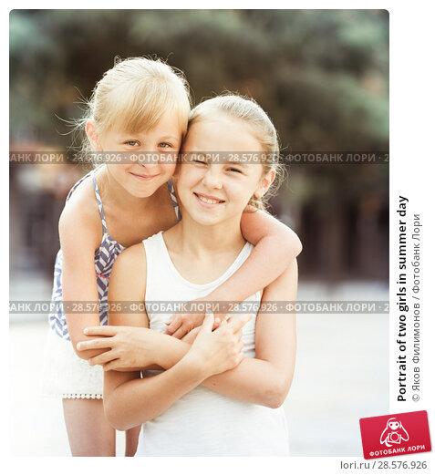 Купить «Portrait of two girls in summer day», фото № 28576926, снято 20 июля 2017 г. (c) Яков Филимонов / Фотобанк Лори
