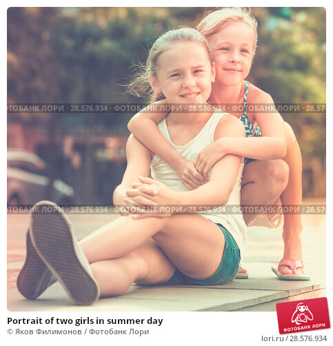 Купить «Portrait of two girls in summer day», фото № 28576934, снято 20 июля 2017 г. (c) Яков Филимонов / Фотобанк Лори