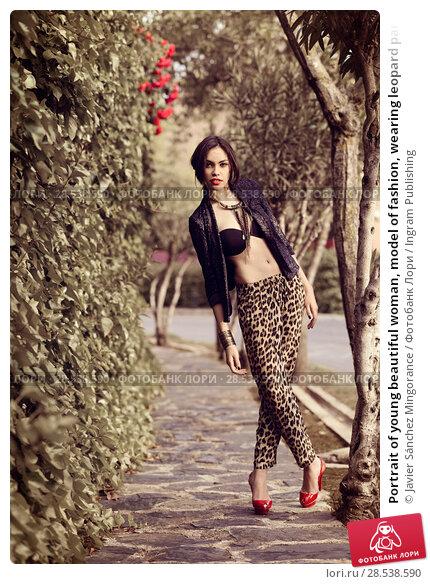 Купить «Portrait of young beautiful woman, model of fashion, wearing leopard pants, jacket and red high heels», фото № 28538590, снято 18 мая 2013 г. (c) Ingram Publishing / Фотобанк Лори