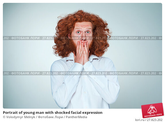 Купить «Portrait of young man with shocked facial expression», фото № 27823202, снято 26 мая 2019 г. (c) PantherMedia / Фотобанк Лори
