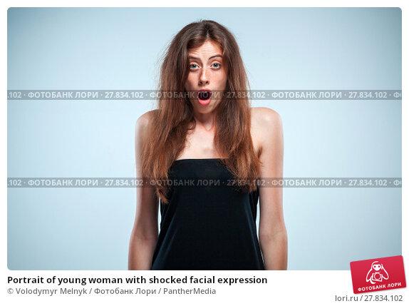 Купить «Portrait of young woman with shocked facial expression», фото № 27834102, снято 22 мая 2019 г. (c) PantherMedia / Фотобанк Лори