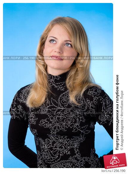 Купить «Портрет блондинки на голубом фоне», фото № 256190, снято 21 октября 2007 г. (c) Андрей Андреев / Фотобанк Лори