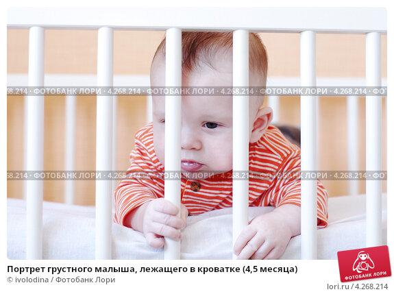 Купить «Портрет грустного малыша, лежащего в кроватке (4,5 месяца)», фото № 4268214, снято 7 февраля 2013 г. (c) ivolodina / Фотобанк Лори