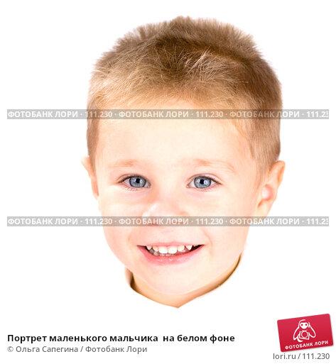 Портрет маленького мальчика  на белом фоне, фото № 111230, снято 3 ноября 2007 г. (c) Ольга Сапегина / Фотобанк Лори