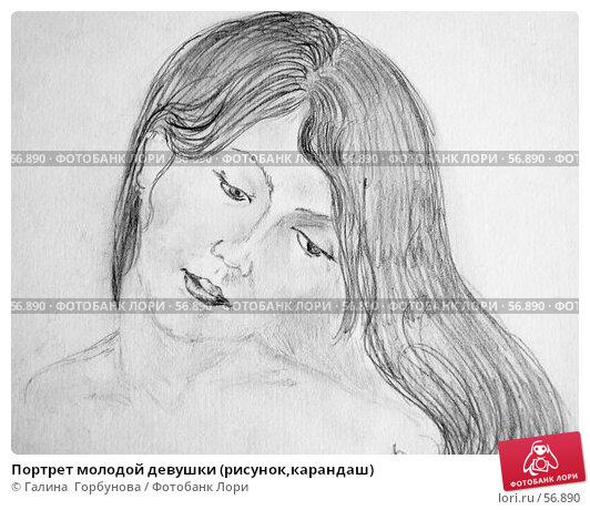 Портрет молодой девушки (рисунок,карандаш), иллюстрация № 56890 (c) Галина  Горбунова / Фотобанк Лори