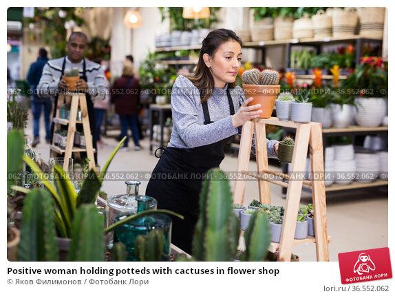 Positive woman holding potteds with cactuses in flower shop. Стоковое фото, фотограф Яков Филимонов / Фотобанк Лори